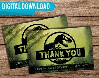 Jurassic World Thank You Card, Jurassic World Birthday, Jurassic World Party, Dinosaur Thank You Card, Digital Download, 264982098