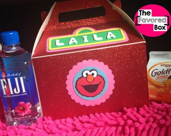 6 Large Personalized Elmo Inspired Birthday Favor Boxes