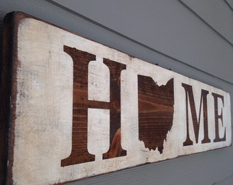 Personalized Handmade Rustic Distressed Wood State Home Sign- Home State Wood Wall Decor