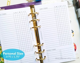 PRINTED planner insert - Cleaning checklist - Weekly chores insert - Personal size planner refill - Weekly to do list - P02