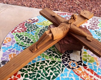 Beautiful Wooden Homemade Cross/Wooden Crucifix /Hand Made Hand Carved
