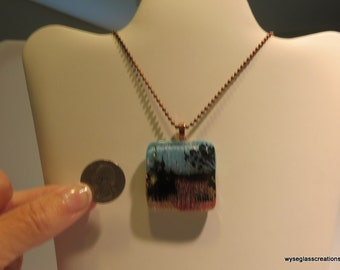 Beautiful, fused glass scenic necklace