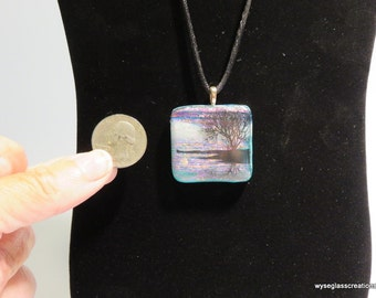 Beautiful, one of a kind, fused glass, scenic necklace