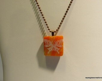 Fused glass butterfly necklace