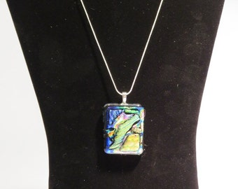 Dichroic, fused glass necklace