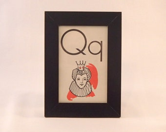 Q is for Queen framed vintage flash card