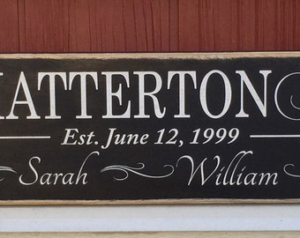 """Rustic Wood Sign - Family Names with Establishment - 6"""" x 24"""""""