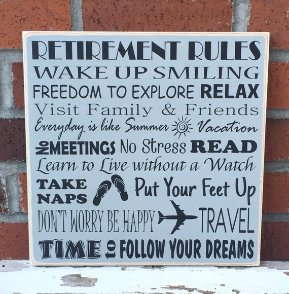 Rustic Wood Sign Retirement Rules 12 X 12