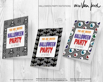 Halloween Party Invitation Printable Pack of 3