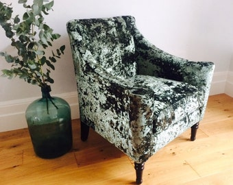 Vintage Library/Living room/Study armchair re-upholstered in a beautiful emerald green velvet.