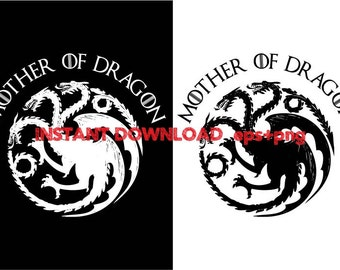 Mother of dragon clipart ,T shirt, iron on , sticker, Vectors files ,Personal Use