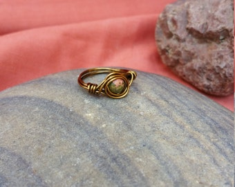 Unakite Wire Wrapped with Brass Colored Copper Wire, Size 6 1/2