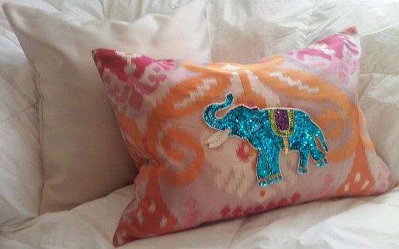 Sequin Elephant Throw Pillow : Elephant Sequin Pillow Cover by hautepiece on Etsy