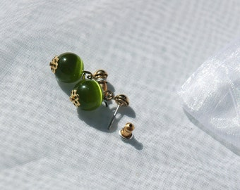 Dark Green Glass Bead Post Earrings