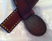 Vintage Leather Belt - Redish Brown Studded Leather with Brass Buckle - Womens Belt - Perfect Accessory for Your Wardrobe - Gift for Her