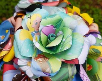 Alice in Wonderland Disney Book Bouquet-Book lover gift-Book Bouquet-Book decor- Unique Gift- Bridal Bouquet- Paper Roses-Wedding- valentine
