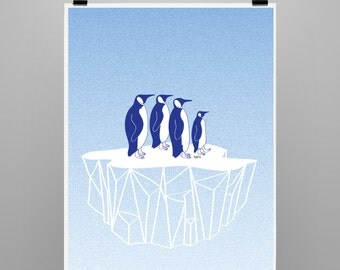 Penguins on a iceberg  - format A3
