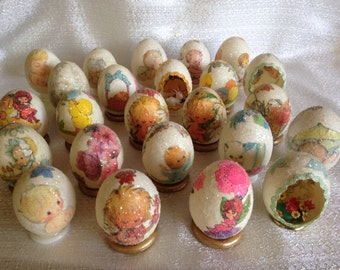 24 hand decorated vintage blown eggs from 1970's