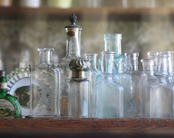 Antique Apothecary Bottles Photographic Print, 5x7 or 8x12 inch Photo Print, Glass Bottles, Home Decor Wall Art