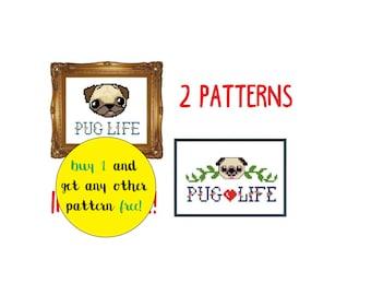 funny PUG LIFE cross stitch Pug cross stitch / Thug Life cross stitch / funny cross stitch pdf pattern instant download