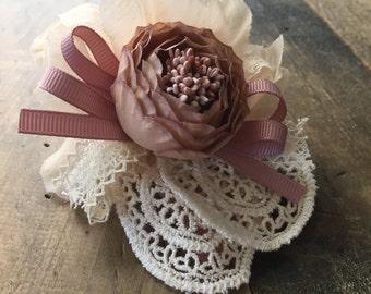 Flower Hair clip, Fancy hair clip, Crochet hair clip, Flower girl clip, Holiday hair clip