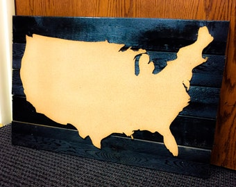 Rustic Map Cork Board