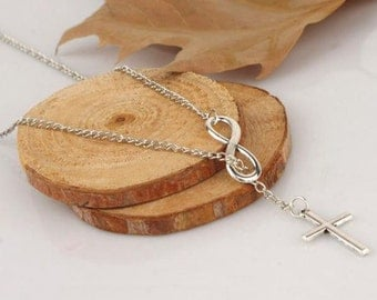 Cross and Infinity Necklace Silver Wedding Jewelry Mothers day Gift Infinity Necklace Cross Necklace