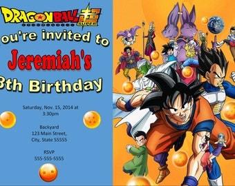 Dragonball Z Invitation, Dragonball birthday
