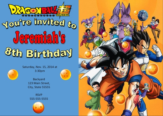 dragonball z invitation dragonball birthday With dragon ball z wedding invitations