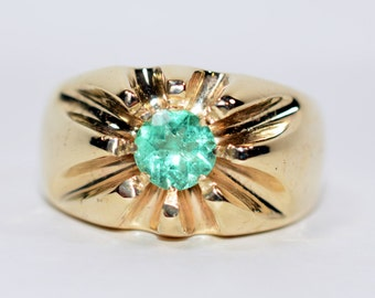 20% OFF SALE!! Sizzling Hot 1.50ct Colombian Emerald 10kt Yellow Gold Ring