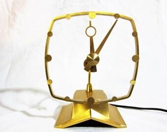 "Jefferson ""Golden Secret"" Midcentury Modern Electric Mystery Clock 1950s"