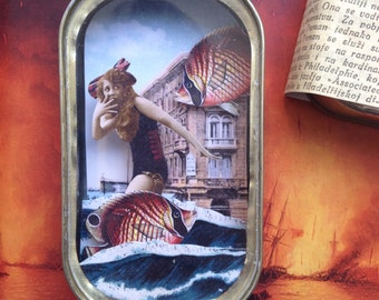 Mixed Media Wall Art / Decoration / Fun Gift / Home Art / Hand Made Collage / Diorama / Pin Up / Fridge Magnet