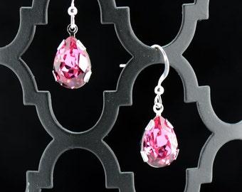 Pink Crystal Pear-Shaped Drop Earrings - E2653