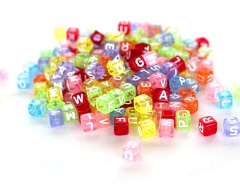 300 Translucent Rainbow Alphabet Kandi Beads