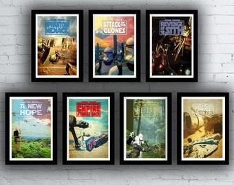 Star Wars Trilogy Film / Movie Posters / Prints Set Episodes 1 2 3 4 5 6 7
