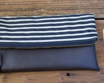 Stripes Fold Over Clutch