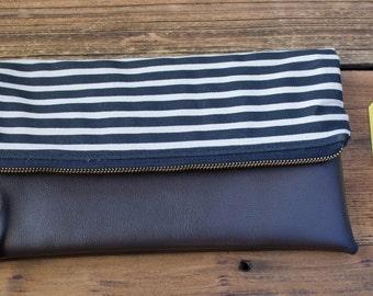 Stripes Fold Over Clutch