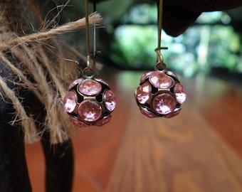 Pale Pink Rhinestone Disco Ball Earrings – ERU082