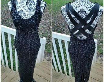 Vintage Little Black Sequin Dress by Susan Roselli for Vijack in size 7/8