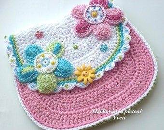 PATTERN - flower handbag - crochet pattern, purse, bag, PDF
