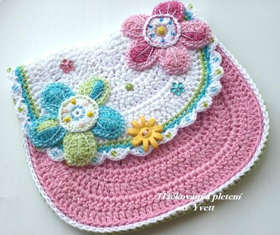 Crochet Flower Purse Pattern : PATTERN - flower handbag - crochet pattern, purse, bag, PDF