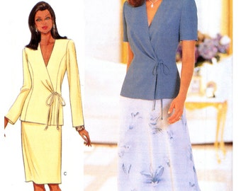 90's Butterick 6000 David Warren Princess Seamed Top and Skirt, Both in Two Lengths , Uncut, Factory Folded, Sewing Pattern Size 14-18