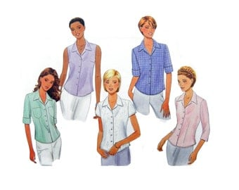 2001 Butterick 6085 Misses' Semi-Fitted Tops with Sleeve Variations, New, OOP, Uncut, Factory Folded Sewing Pattern Size 8-10-12