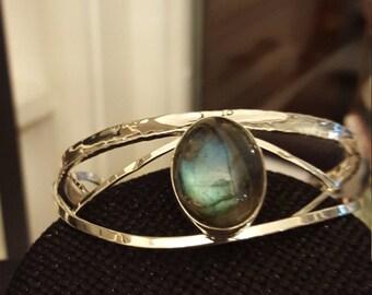 Modern Shimmering Labradorite Sterling Silver Bracelet Cuff