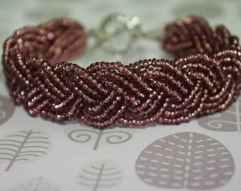 Beadwork bracelet purple