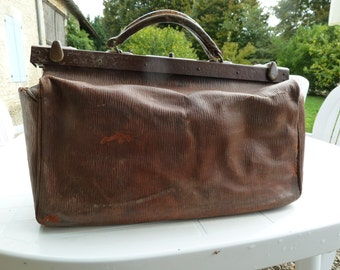 Antique French Doctor's Bag, Gladstone Bag FREE SHIPPING WORLDWIDE