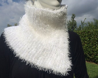 White modern knit cowl scarf with fur-like thread