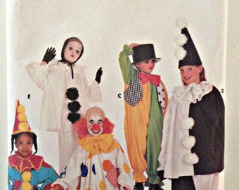 Butterick 4154, Clown Costume, Mime Costume, Boys and Girls Halloween Costumes, Harlequin Costume