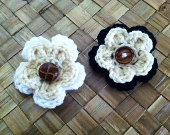 Crocheted flower hair clips with button- set of two