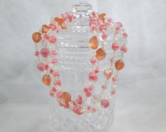 Glass Beaded Flapper Style Necklace Pink Clear and Smokey Peach Beads